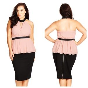 City Chic Top Open Night Pale Pink Halter Top 22
